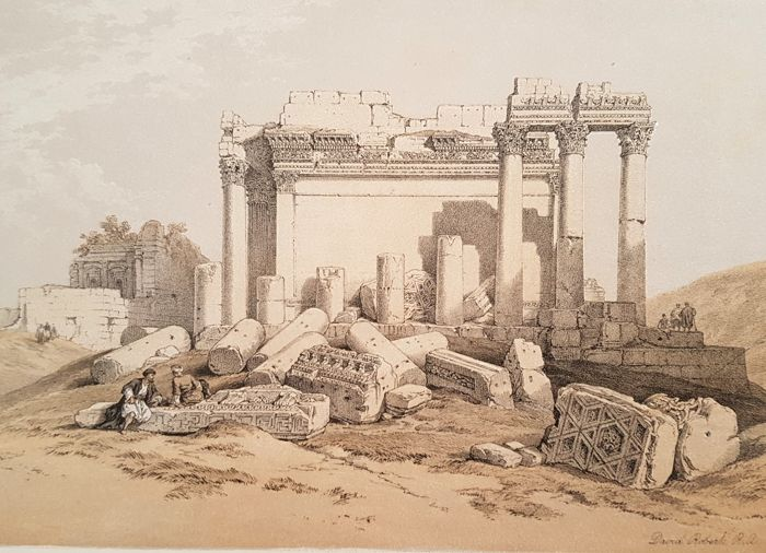 David Roberts (1796-1864) - Portion of the Eastern Portico, Baalbec