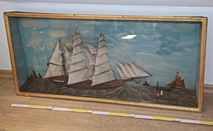 Large diorama, half model, sailing ship in glass case - British - approx 1900