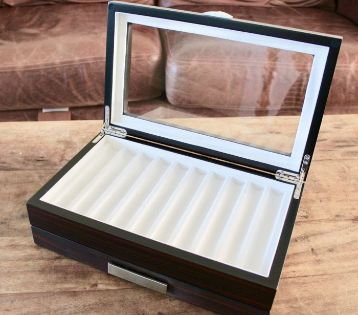 Own Label  - Pen Display Box - Ebony woodgrain veneer