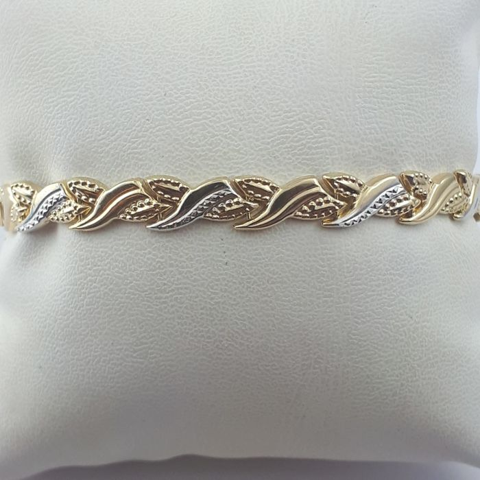 Ladie's Bracelet, 14 kt Yellow and White Gold - Length: 19cm