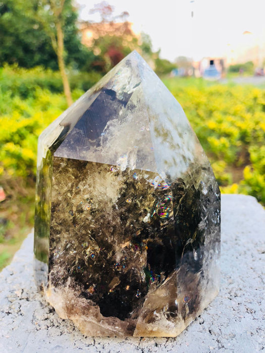 Smoky Citrine Quartz Obelisco - 12×10×7 cm - 1037 g