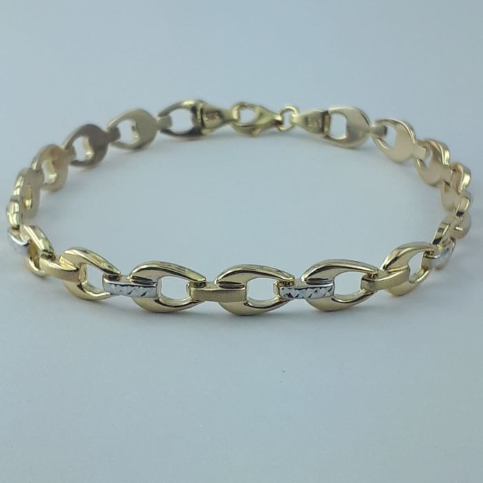 Ladie's Bracelet, 14 kt Yellow and White Gold - length: 19 cm