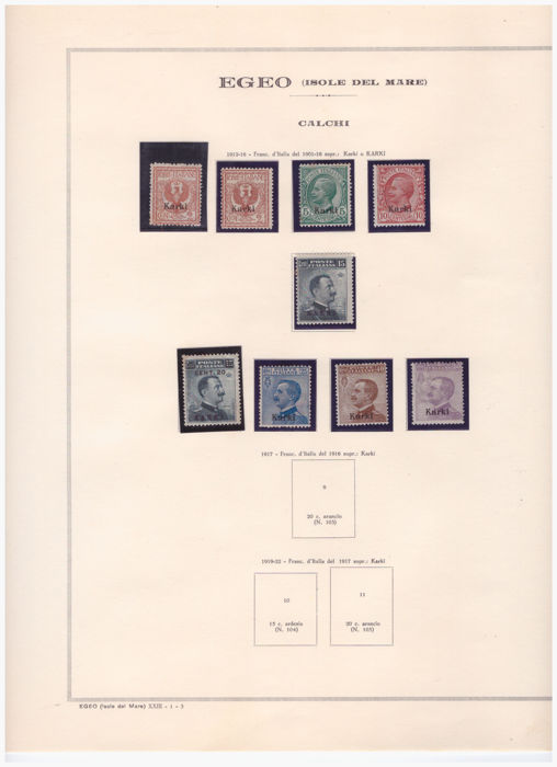 Italian Islands of the Aegean - 1912/1932 - Incomplete collection with values from the 13 islands - Sassone no. 1 to 26 for each island