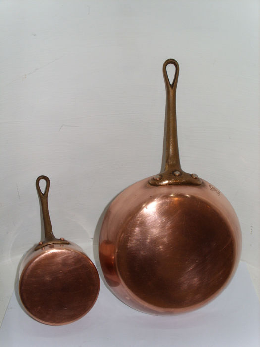 2 Real French copper pans, a skillet and a saucepan