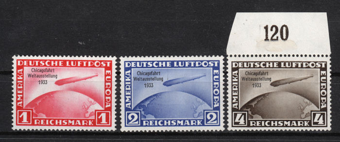 German Empire 1933 - complete set Chicago travel - Michel 496-498