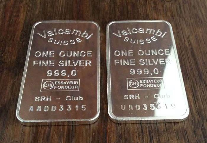 Valcambi Suisse - 2 x one ounce - 999/1000 - Minted - With serial numbers