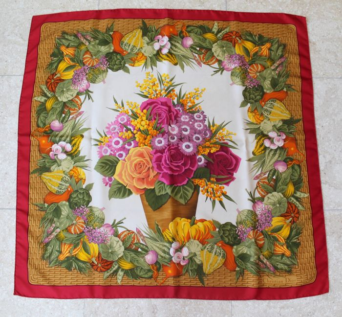 Christian Dior - Scarf foulard Flowers   Co - beautiful ! - Vintage ... 91126c8ba5e