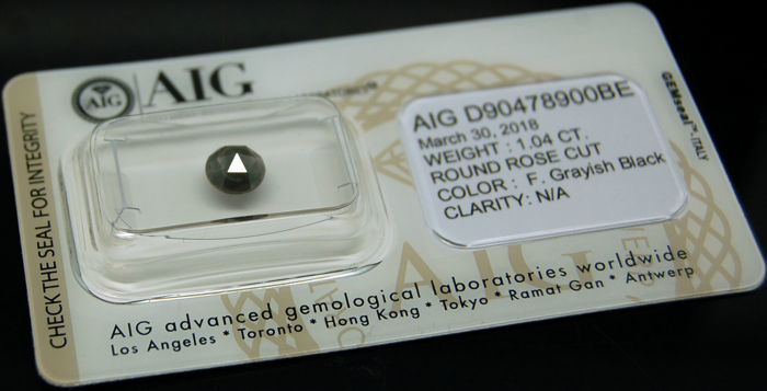 1.04 Cts Certified Natural Fancy Greyish Black Diamond