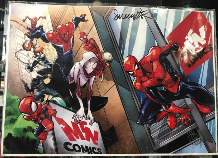 Spiderman comics limited edition signed by the authors and two posters also signed by authors
