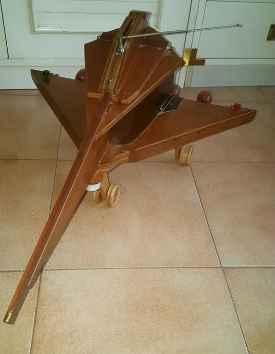 Vintage handcrafted futuristic airplane design project in wood, electric item - 1960s/70s