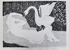 Original wood engraving by Hideo Hagiwara (1913-2007) - Limited and numbered edition (47/50) -'Léda' - From the series 'Greek Mythology' - Japan - 1965