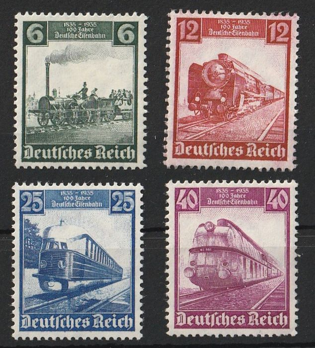 German Empire 1934/1937 - 6 sets from 1934-1937 partly margins. - ANK 2017 546 - 47 ,580 - 83 ,632 - 33 ,643 - 648 , 650 .