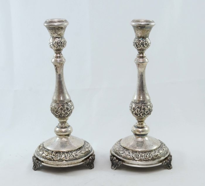 A pair of silver candlesticks - Israel - ca. 1940/1950
