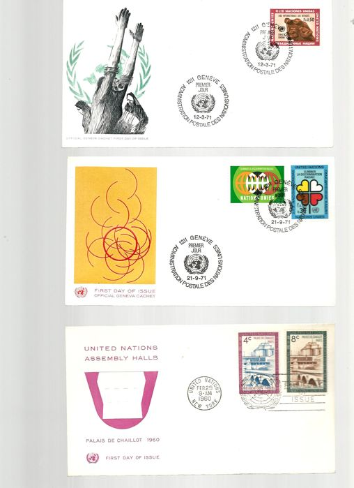 Wereld - Lot contains FDC's Unite Nations and Europe stamps