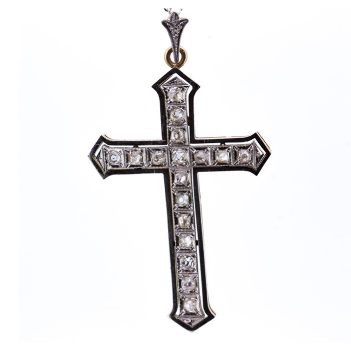 Art-decco cross late  19th century, 0.51 ct
