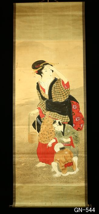 "Hand painted hanging scroll - Signed 'Taika' 大華 - ""-Bijin-ga- Beauty painting"" - Japan - Early 20th century (Meiji Period)"