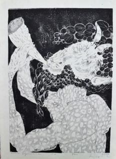 "Original woodblock print by Hideo Hagiwara (1913-2007) - Limited and numbered edition (47/50) -'Pan' - From the series ""Greek Mythology"" - Japan - 1965"