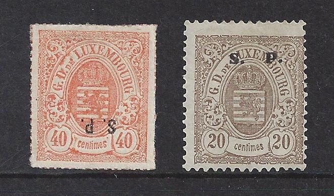 Luxemburg 1881/1884 - Weapon S.P. overprint perforated - Michel 21 I en 32 II