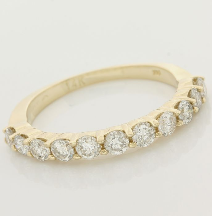 14kt/585 Yellow Gold - 0.80 ct Round Brilliant Cut Diamond, Ring; Size: 6.25