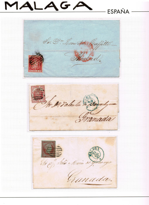 Spain 1854/1885 - Lot 14 cards + 20 stamps. Hª Postal Malaga