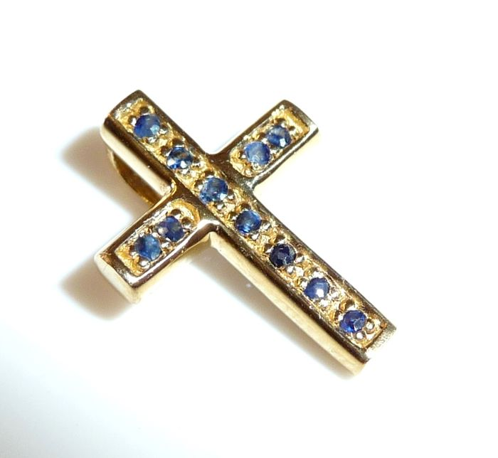 Pendant Small Cross in 14 K / 585 Gold with 11 Sapphires She and He; No reserve price