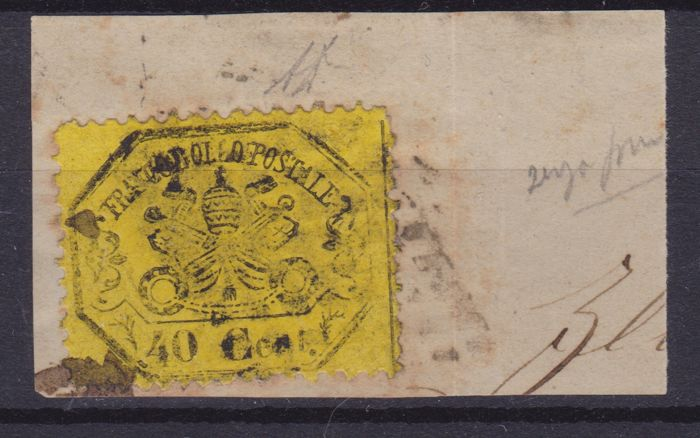 "Italy - Papal State 1868 - 40 cents yellow Without dot after ""40"" - Sassone N. 29n"