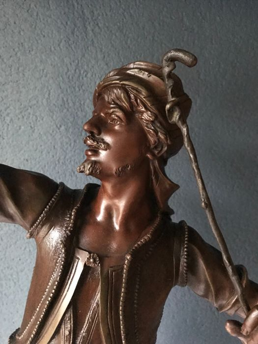 """Marcel Debut (1834-1933) - imposing bronze sculpture - """"The Falconer"""" - approx. 1880"""