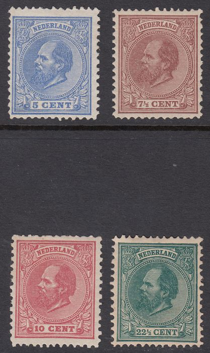Nederland 1872/1888 - King William III - NVPH 19, 20, 21 en 25