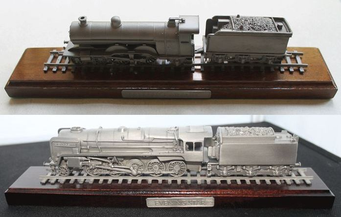 Franklin Mint - Evening Star Locomotive and Ivatt Large Atlantic Locomotive - on Stand - Solid Pewter