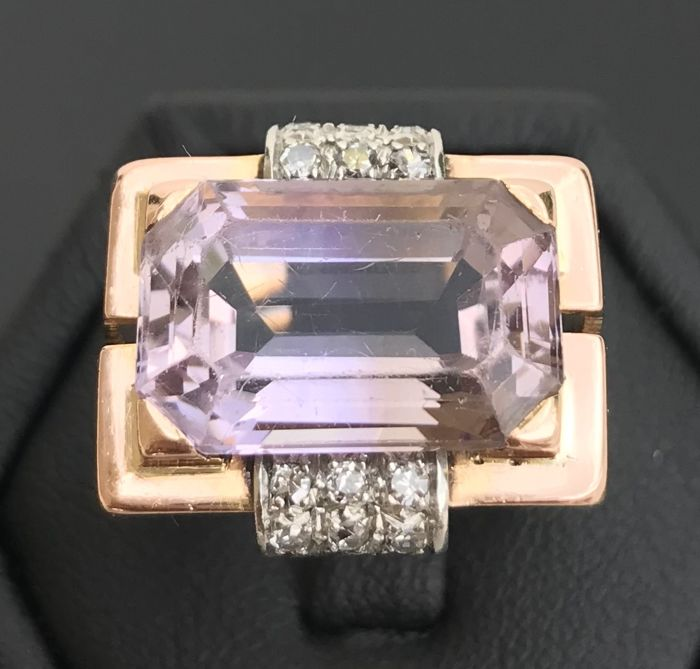 Art Deco Tank Ring in 18 kt pink gold and platinum, decorated with a pink amethyst and diamonds (9.24 ct) ** NO RESERVE PRICE **