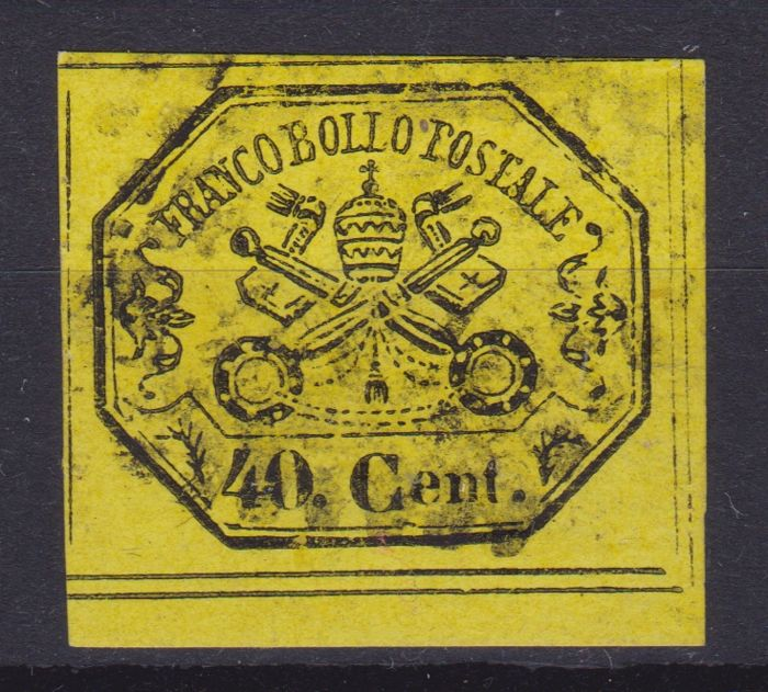 Italy - Papal State 1867 - 40 cents yellow - Sassone N. 19