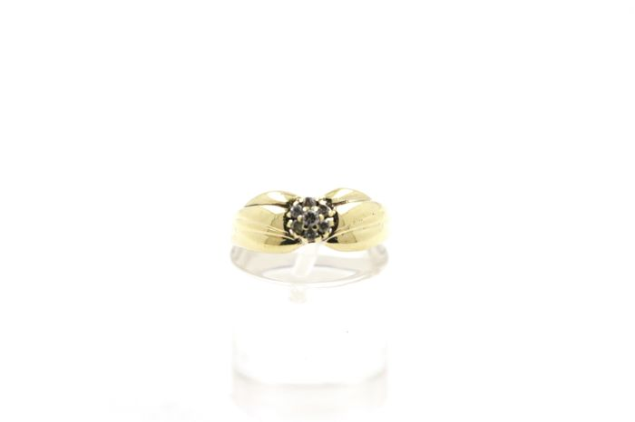 14 kt yellow gold women's ring with 0.20 ct diamond - ring size: 45 (EU) - free size adjustment