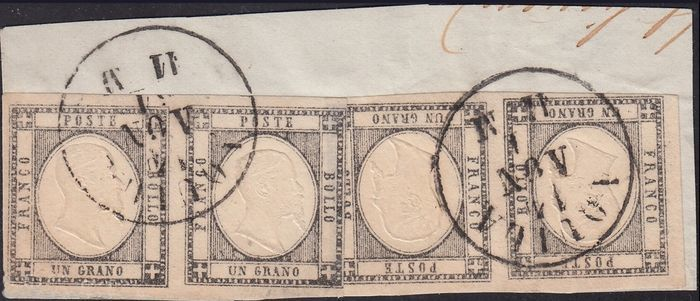 Italy - Fragment with two pairs of 1 Grano light grey - Sassone 19da