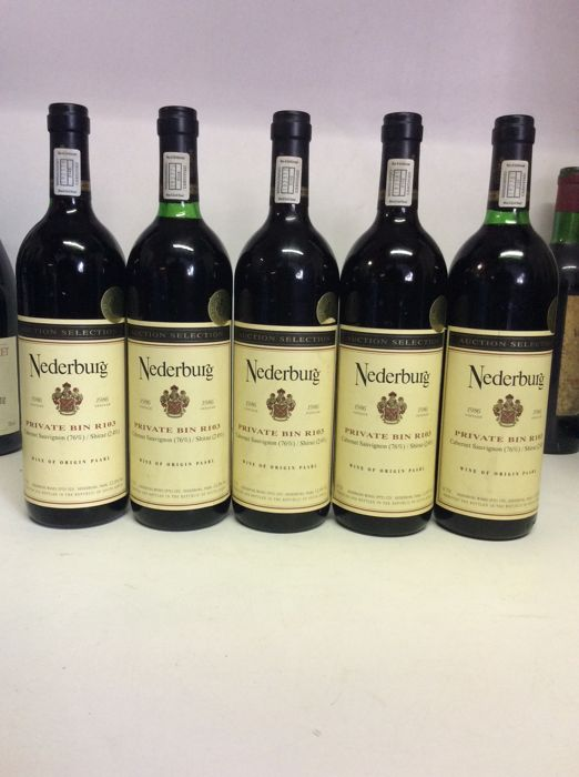 "1986 Nederburg ""Private Bin R103"" (Cabernet Sauvignon 76% & Shiraz 24%) - 5 bottles 0,75l in total"