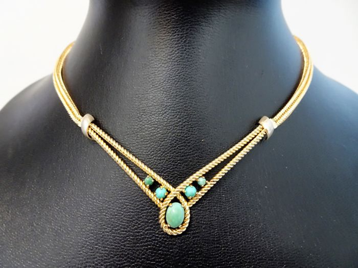 Grossè - Gold Choker Necklace with 5 Genuine Turquoise Cabochons - 1964