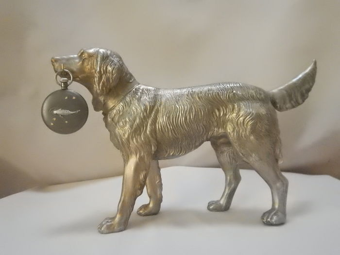 Silver plated patinated spelter Labrador dog - watch standard for two pocket watches including watch - indistinct signature or name on the neck strap - 20th century
