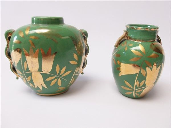 Boch Freres - Raymond Chevallier 2 vases with gold decoration