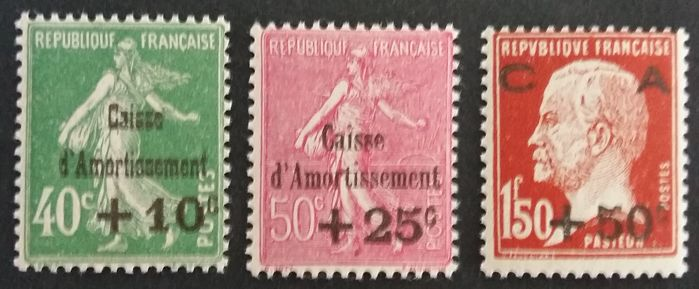 France 1930 - 3rd complete series of Caisses d'Ammortissement - Yvert 253/255