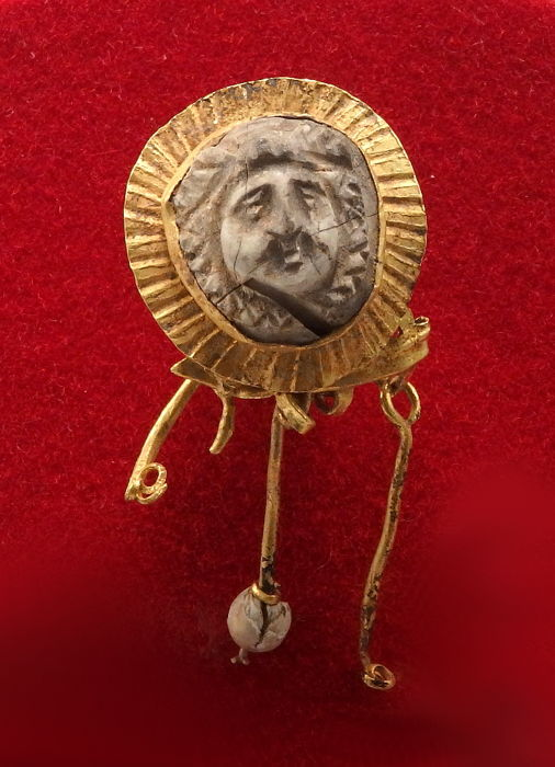 Ancient Roman Gold Earring Set with White Cameo  - 1.6cm x 3.3cm drop