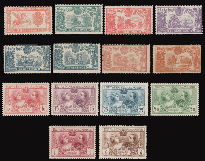 Spain 1905 - Lot 14 stamps. Emissions Pegaso, Quijote, Exhibition of Industries of Madrid.
