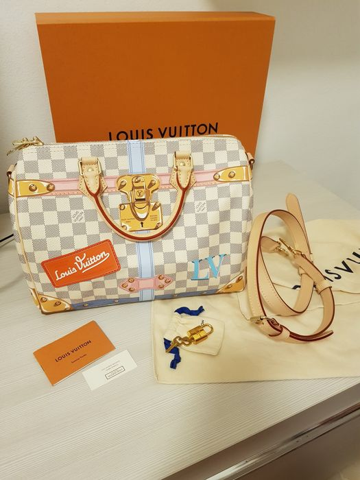 7402a7d2afa0 Louis Vuitton - Damier Azur Summer Trunks Speedy Bandouliere 30 Handbag