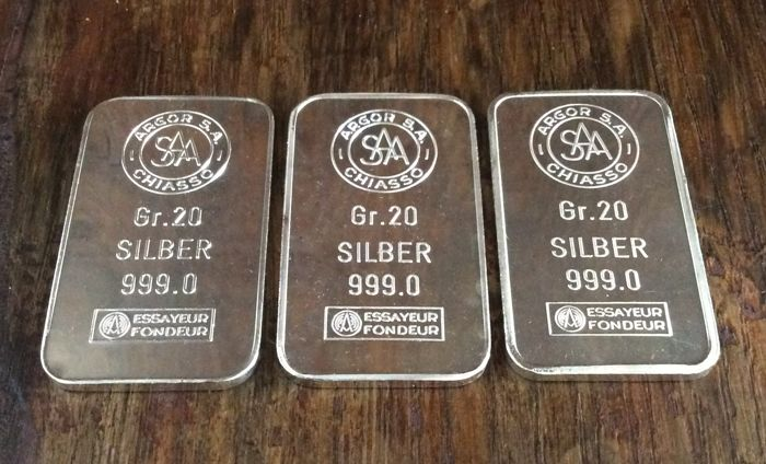 Argor S.A. Chiasso - 3 x 20 grams - 999/1000 - Minted bars