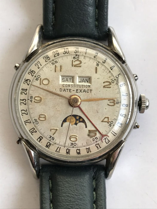 Constituiton  Date-Exact - triple calendar moonphase watch - 0151 - Unisex - 1950-1959