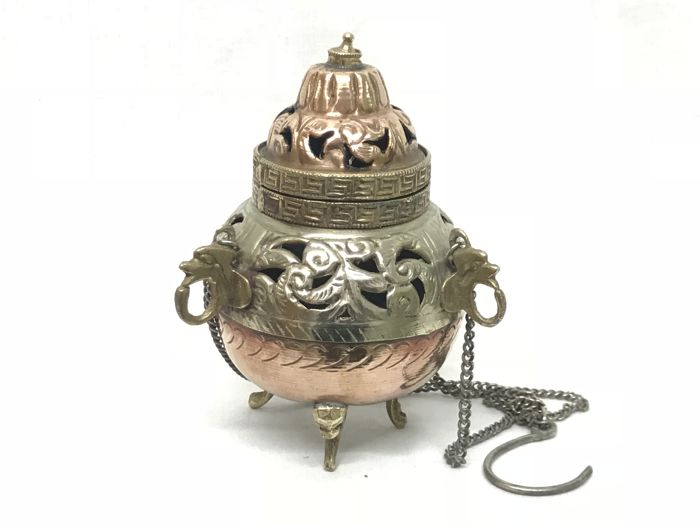 Silver plated and gilt copper censer with detailed decorations