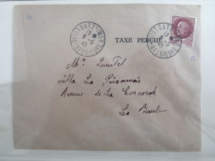 France 1944/1945 - Envelope pocket of Saint Nazaire signed Roumet