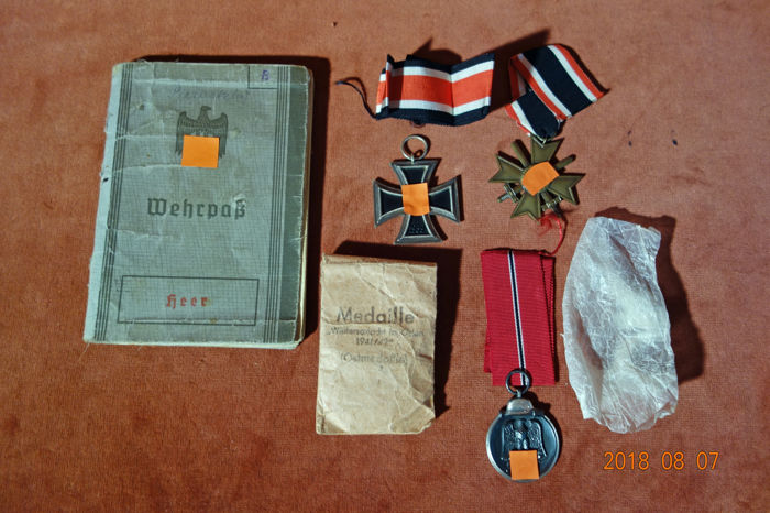 Iron Cross, Eastern Front Medal and War Merit Badge as well as military passport of corporal M. Bernatzky