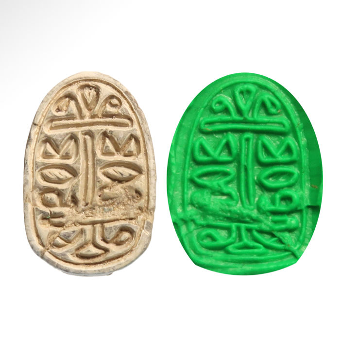 Oud-Egyptisch Speksteen Scarab with Good Luck Wishes - 1.8 cm L