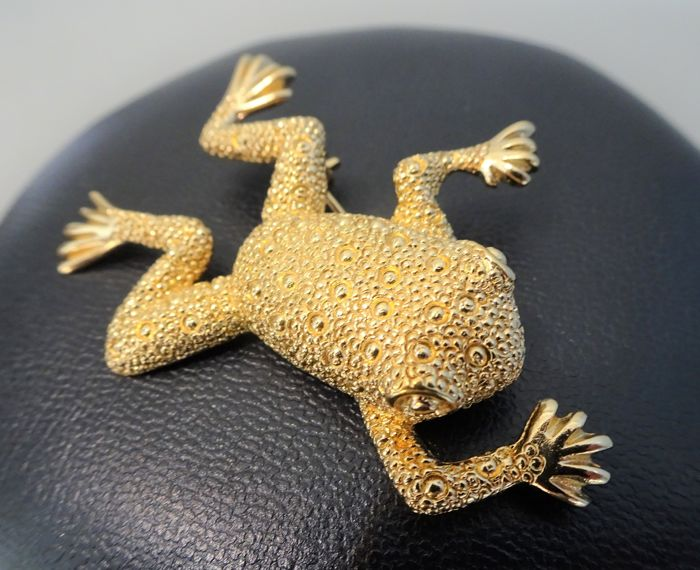 Christian Dior -  Gold Frogg Brooch - 1980s