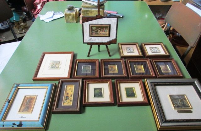 Lot of 13 pictures: 9 on gold leaf and 4 on silver leaf