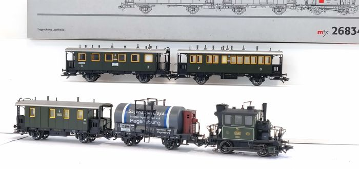 "Märklin H0 - 26834 - Treinstel - 4-piece set ""Walhalla"" with Ptl 2/2, ""Glass cabinet"" - K.Bay.Sts.B"